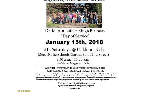 No 1st Saturdays in January. We are hosting a Dr. Martin Luther King Day of Service on January 15th