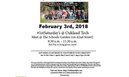 """Next- 1st Saturdays -""""Volunteer Day""""  at Oakland Tech on February 3rd"""